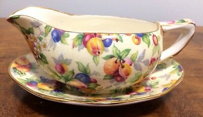 Beautiful vintage Royal Winton gravy boat or jug and tray, Evesham pattern