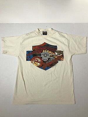 Vintage 1991 Harley Davidson 3-D emblem New York graphic print shirt Size Large