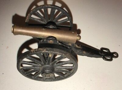 MINIATURE TOY CANNON CAST IRON & BRASS REPLICA Vintage MFCO.
