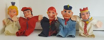 Vintage Punch and Judy Style Hand Puppets Set Of 5 Policeman King Queen Lord Etc