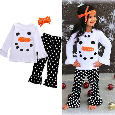 UKSTOCK Toddler Kids Girl Xmas Snowman Olaf Top T shirt Pants Outfit Set Clothes
