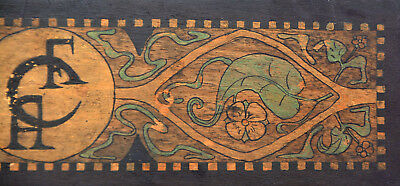 CFA VOYSEY Signed CFA Hand Painted C1905 Wood BOX Paint or Music ART NOUVEAU