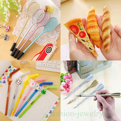 1/5/10X Creative Cute Gel Pen Black Student Stationery Office Writing Sign 0.5mm