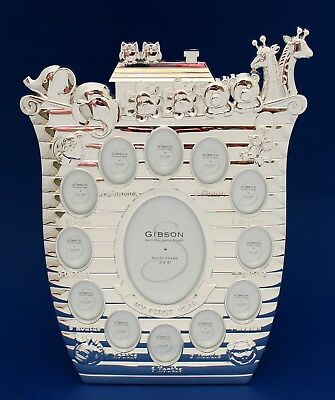 Baby First Year Collage Photo Frame Silver Noah's Ark Quality Keepsake Gift