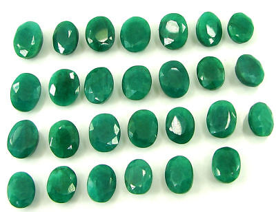 200.00 Ct Natural Green Emerald Loose Oval Gemstone Lot of 27 Pcs Stone - 21266