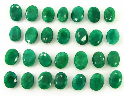 200.00 Ct Natural Green Emerald Loose Oval Gemstone Lot of 28 Pcs Stone - 21269