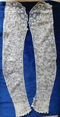 Antique Pair Of Lace Sleeves, Full Length, Button Cuff