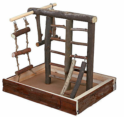 Natural Wooden Playground for Birds Budgie Canary with Ladders & Rope Ladder