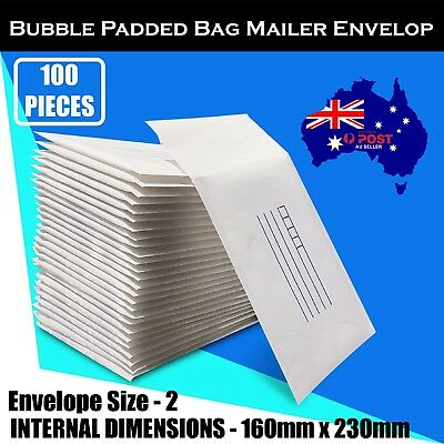 100 pcs 160x230mm Bubble Padded Bag Mailer White Printed Kraft Cushion Envelope