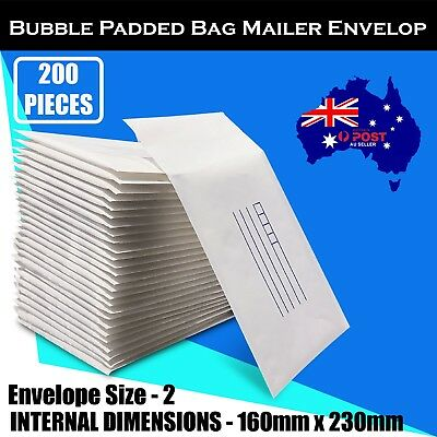 200 pcs 160x230mm Bubble Padded Bag Mailer White Printed Kraft Cushion Envelope