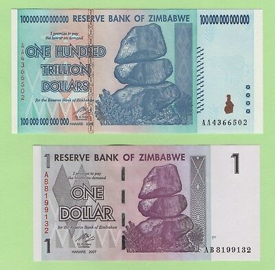 100 Trillion dollar Zimbabwe Banknote UNCIRCULATED and free 1 dollar note