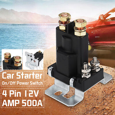 4 Pin 12V AMP 500A Relay Car Starter On/Off Power Switch Dual Battery Isolator