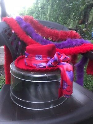 red hat society lot 3 boas hat box and hat