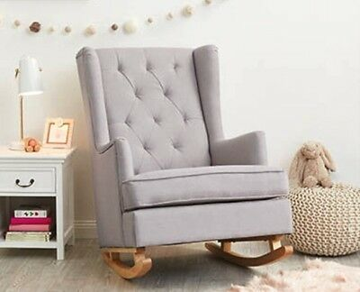 Baby Grey Rocking Nursing Chair Nursery Glider NEW