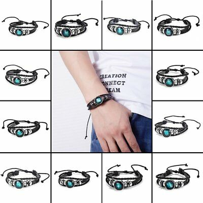 12 Constellation Leather Zodiac Beads Bracelet Punk Bangle Women/Men Jewellery