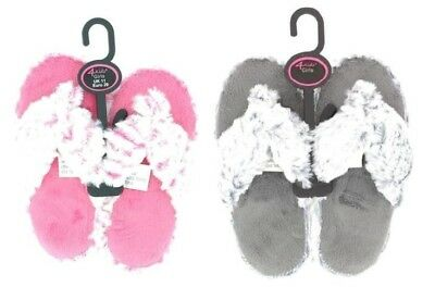 Girls Faux Fur Fluffy Flip Flop Soft Slippers Grey or Pink Fluffy New