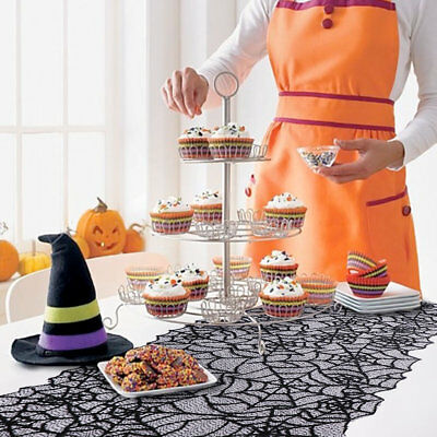 Black Lace Spider Web Table Runner Tablecloth Halloween Party Dinner Table Cover
