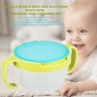 Infants Baby Kids Spill-Proof Snack Bowl Tableware Food Container Box Green DA