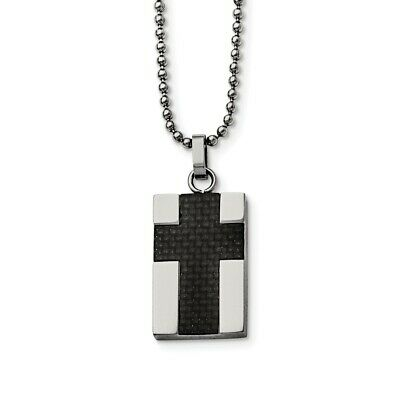 Titanium Polished Black Carbon Fiber Inlay Cross Necklace 43x28mm 22 Inches