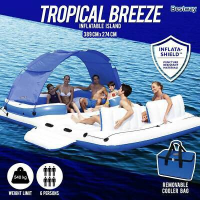 Bestway Tropical Breeze Inflatable Floating Island Raft | Drink Cooler Sunshade