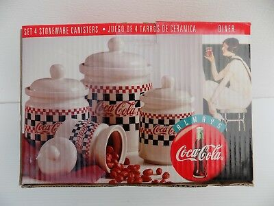 COCA COLA Canister Set Checkerboard Coke Design by GIBSON 4 Pieces w Lids