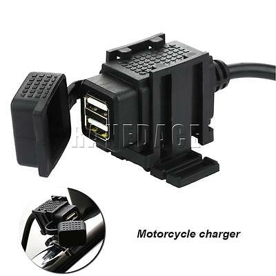 12V Waterproof Motorcycle Motorbike Dual USB Charger Power Socket Phone GPS Hot