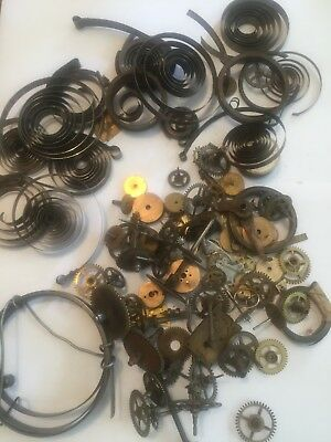 joblot of old vintage clock parts