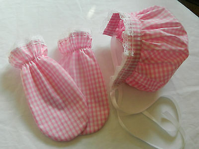 Adult, Ladies Or Mans Baby Bonnet And Scratch Mittens Set, Hen/stag Night Bnwot