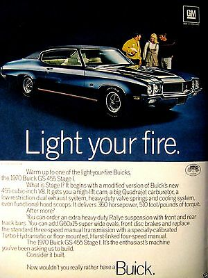"""1970 Buick GS 455 LIGHT YOUR FIRE GS Stage 1 Original Print Ad 9 X 11"""""""