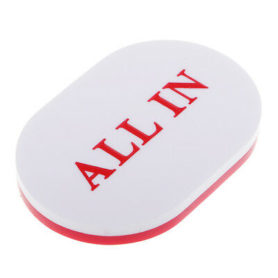 High Quality White and Red Acrylic ALL IN Button Oval Shaped Texas Hold'em