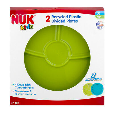 2 New Nuk Kids Plastic Divided Plates Microwave - Dishwasher Safe BPA Free USA