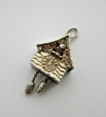 VINTAGE 925 STERLING SILVER CHARM DETAILED CUCKOO CLOCK WEIGHTS MOVE 4.6 g