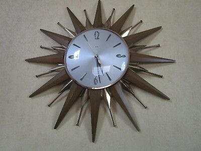 Metamec Iconic Retro 60s Sunburst Quartz Wall Clock 46cm
