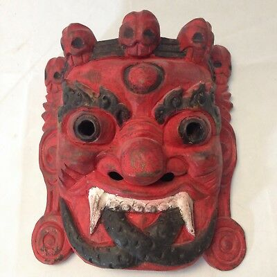 Vintage Japanese Carved Devil Face Mask Hand Painted Underworld Oni? Wax Seal