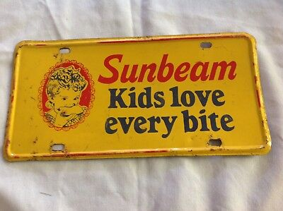 "Sunbeam Bread "" Kids Love Every Bite"" Tin License Plate Sign, Vintage"