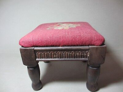 """Antique Needlepoint Foot Stool Floral on Burgundy Background 9.25"""" Square x 7.5"""""""