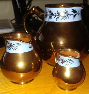 Antique Gibson's England Pottery Copper Glazed Pitcher Set of 3