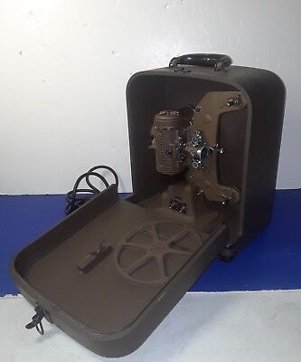 """Vintage Bell & Howell Filmo """"Master 400"""" 8mm Movie Projector W/Case,Take-Up Reel"""