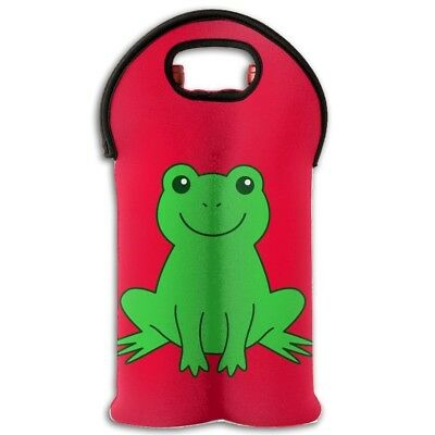 Wine Tote Carrier Bag Green Frog Travel Purse For Champagne,Water Bottles. YYH