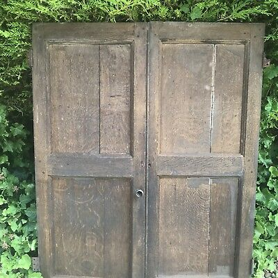 Pair Lovely Antique Oak Cupboard Doors, Architectural Salvage