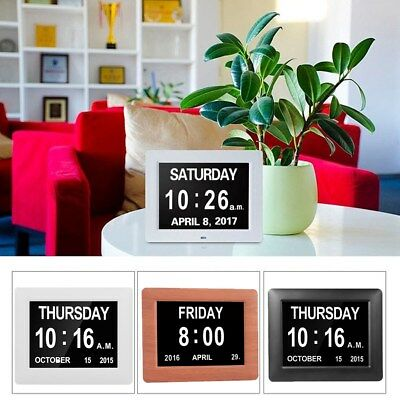 LED Dementia Digital Calendar Day/Week/Month/Year Clock Alarms Large Letters UK