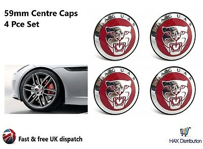 4 x JAGUAR 59mm CENTRE CAPS RED ALLOY WHEEL HUB BADGES EMBLEMS X TYPE S TYPE