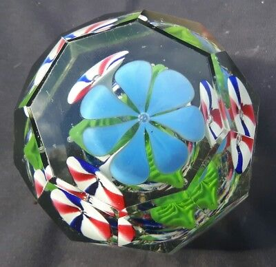 Vintage Large Glass unusual Paperweight  Red white blue Flowers geometric cut
