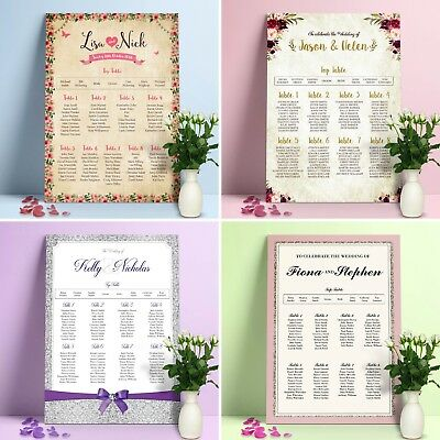 Personalised Wedding Seating Plan Planner Table Plans • 260gsm • Canvas • Banner