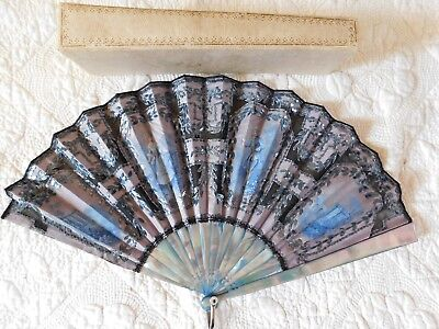Unusual Antique Hand Fan, Blue Stained Mother Of Pearl, Sequins, Lovers + Box