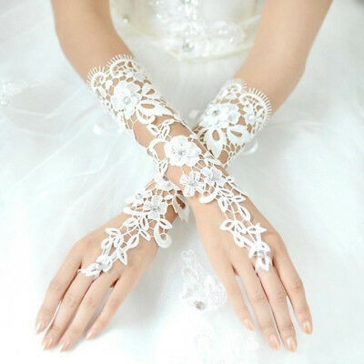 Bride Fingerless Gloves Rhinestone Hollow Out Lace Flower Wedding Accessories A