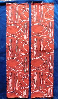 PAIR OF ORIGINAL 1950s RED, BLACK AND WHITE PATTERNED COTTON BARK CLOTH CURTAINS