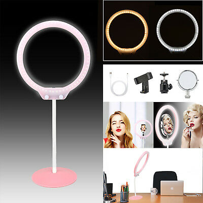 ZOMEI LED Ring Light Tabletop Dimmable Makeup lighting Cosmetic Mirror+Clip kit