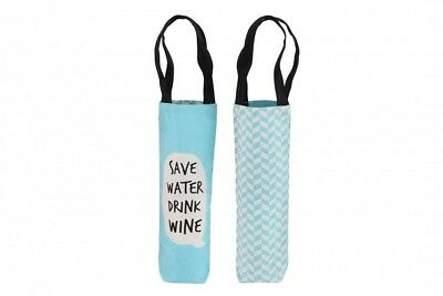 """Assorted Slogans Cheeky Bubbles Canvas Wine Bottle Gift Bag - Bags - """"Save"""