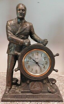 Vintage United Electric FDR The Man of the Hour Shelf Clock  AS IS